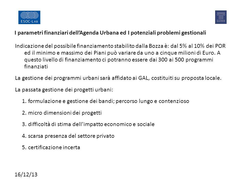 I parametri finanziari dell'Agenda Urbana ed I potenziali problemi gestionali Indicazione del possibile finanziamento stabilito dalla Bozza è: dal 5% al 10% dei POR ed il minimo e massimo dei Piani può variare da uno a cinque milioni di Euro.