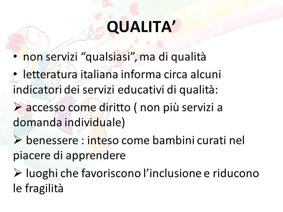 """QUALITA' non servizi """"qualsiasi"""", ma di qualità letteratura italiana informa circa alcuni indicatori dei servizi educativi di qualità:  accesso come"""