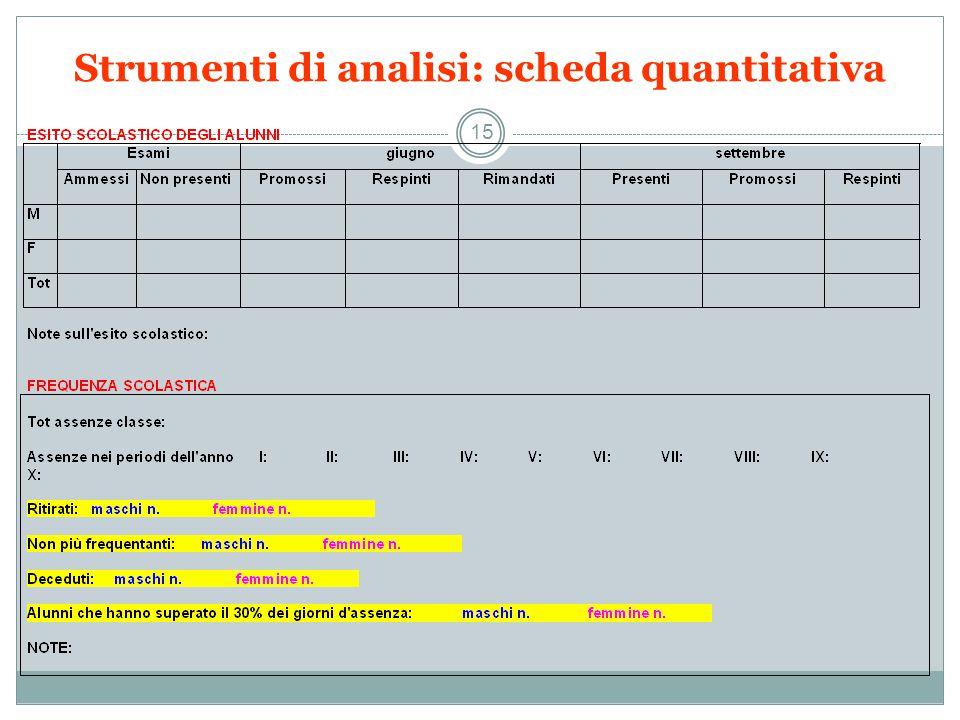 Strumenti di analisi: scheda quantitativa 15