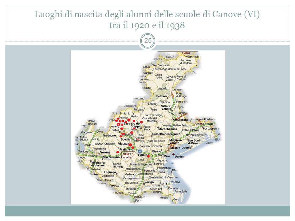 Luoghi di nascita degli alunni delle scuole di Canove (VI) tra il 1920 e il 1938 25