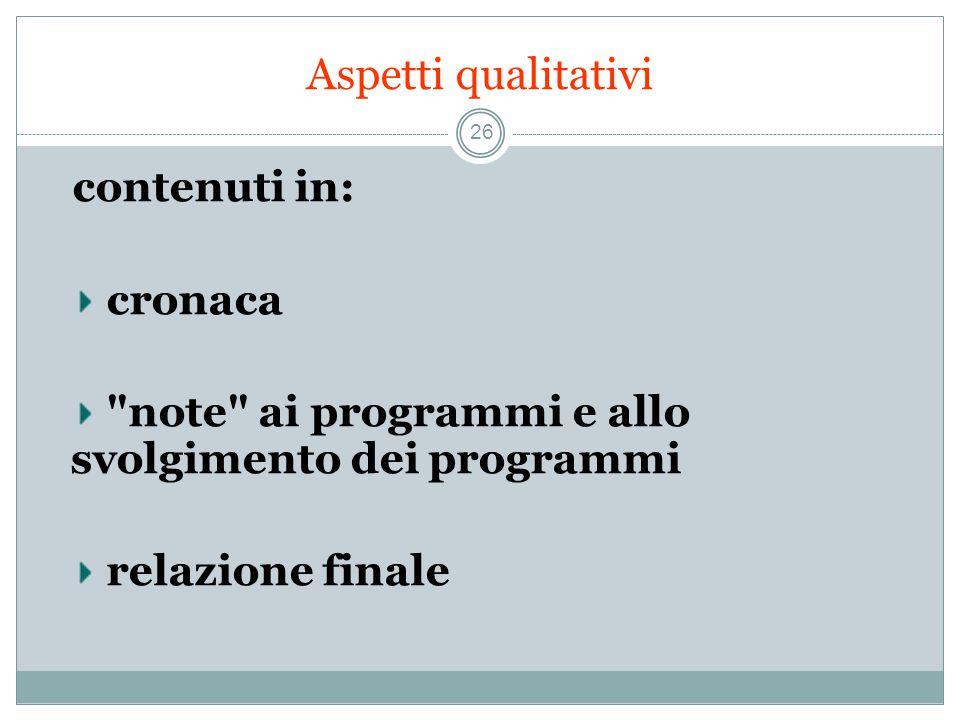 Aspetti qualitativi 26 contenuti in: cronaca note ai programmi e allo svolgimento dei programmi relazione finale