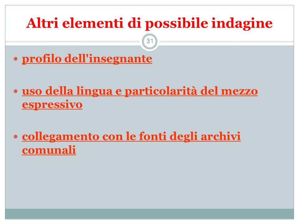 Altri elementi di possibile indagine 31 profilo dell insegnante uso della lingua e particolarità del mezzo espressivo collegamento con le fonti degli archivi comunali