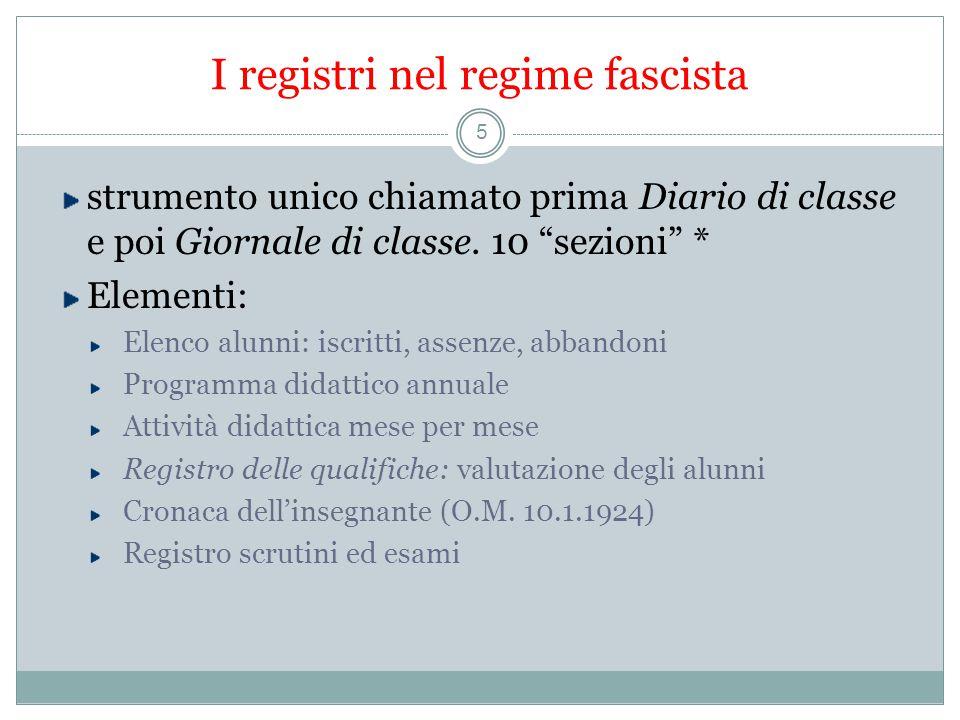 I registri nel regime fascista 5 strumento unico chiamato prima Diario di classe e poi Giornale di classe.