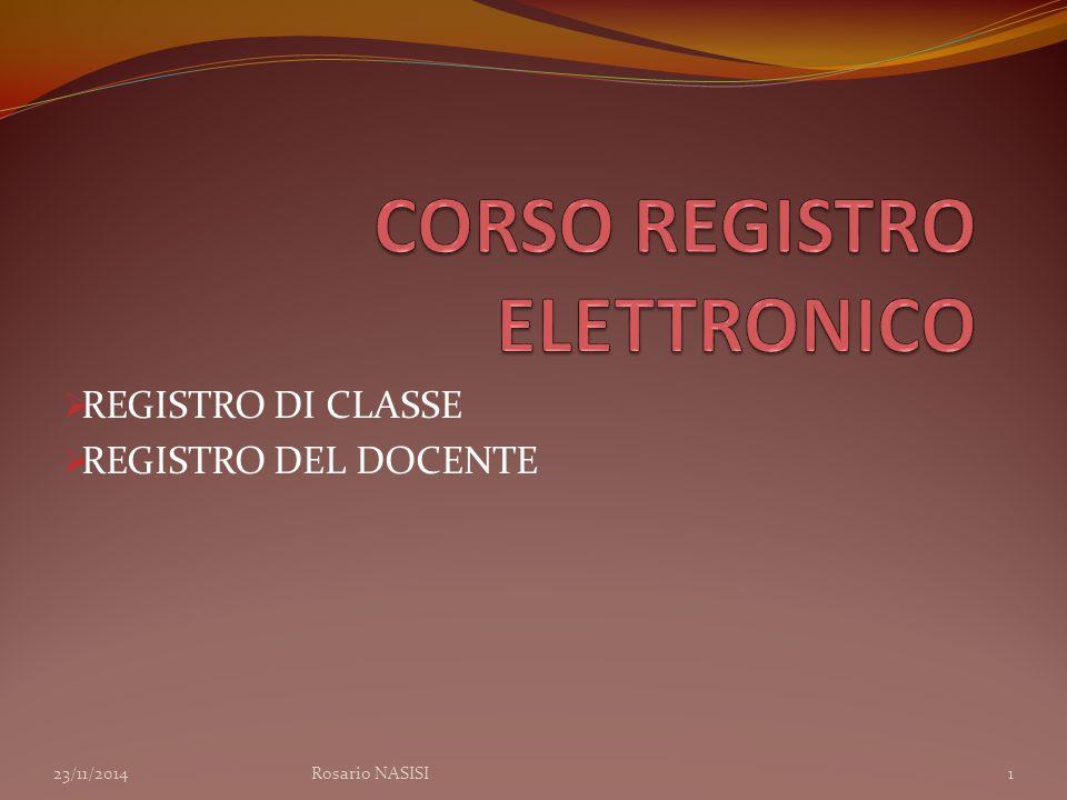  REGISTRO DI CLASSE  REGISTRO DEL DOCENTE 23/11/2014Rosario NASISI1