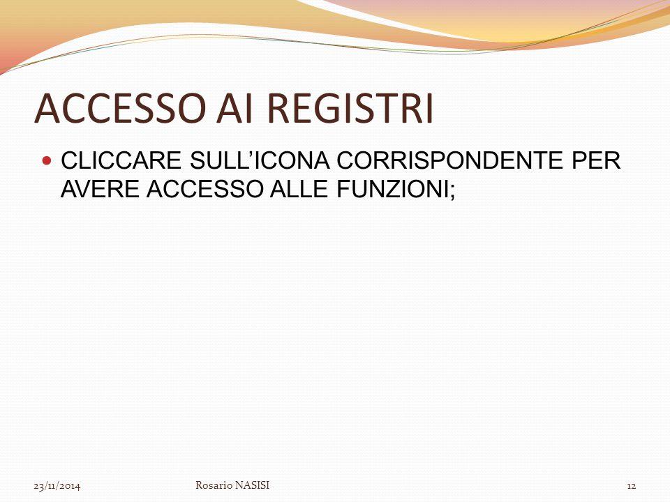 ACCESSO AI REGISTRI CLICCARE SULL'ICONA CORRISPONDENTE PER AVERE ACCESSO ALLE FUNZIONI; 23/11/2014Rosario NASISI12