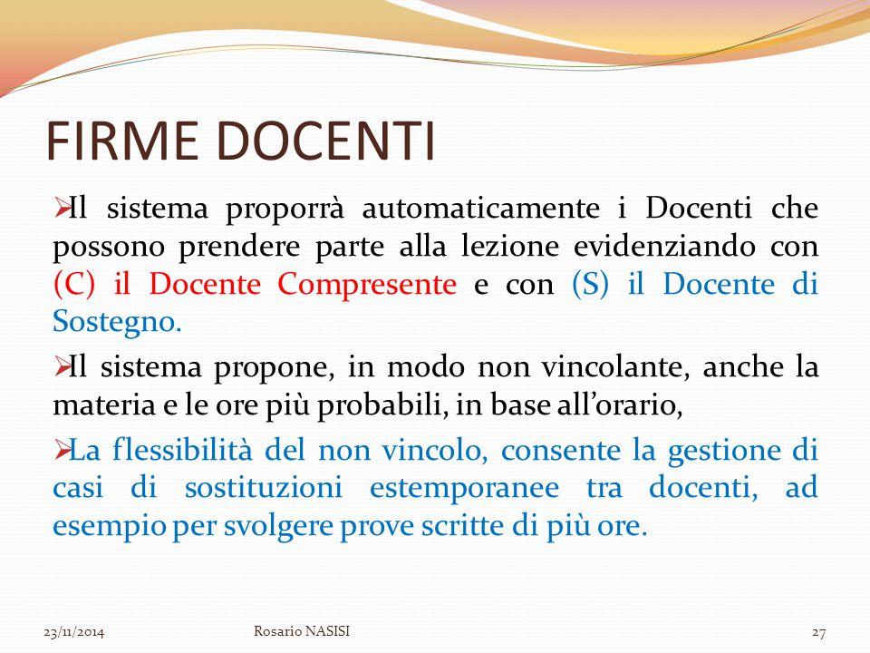 FIRME DOCENTI  Il sistema proporrà automaticamente i Docenti che possono prendere parte alla lezione evidenziando con (C) il Docente Compresente e co