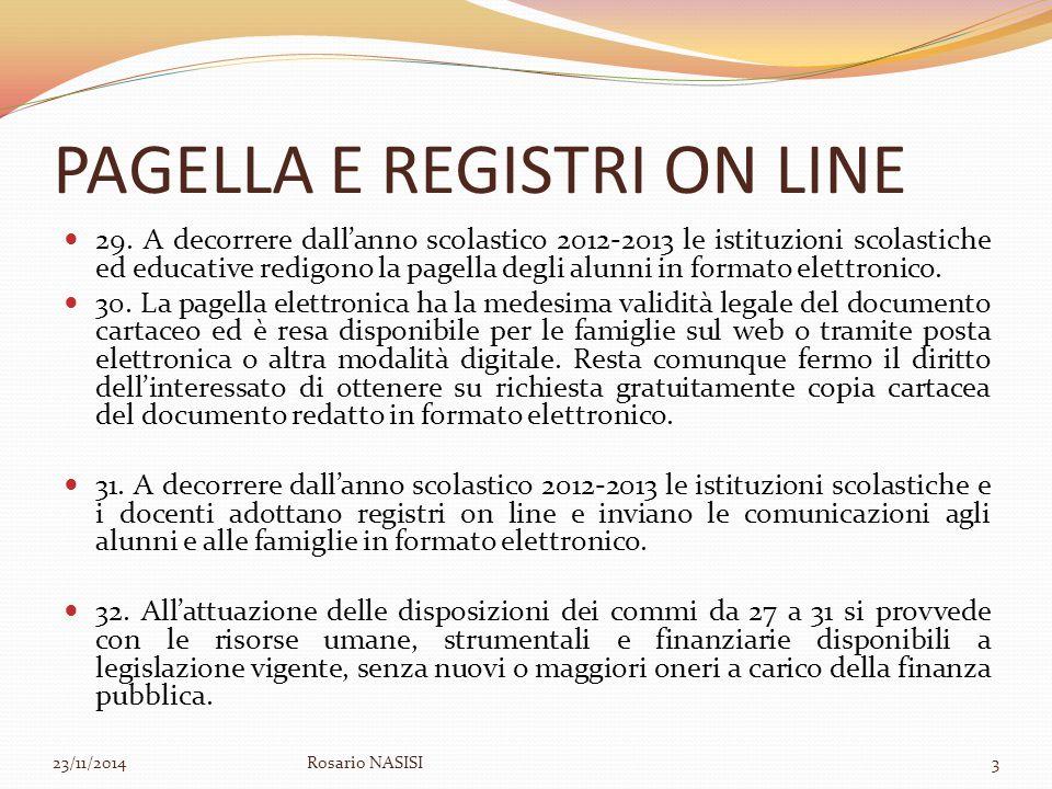 PAGELLA E REGISTRI ON LINE 29. A decorrere dall'anno scolastico 2012-2013 le istituzioni scolastiche ed educative redigono la pagella degli alunni in