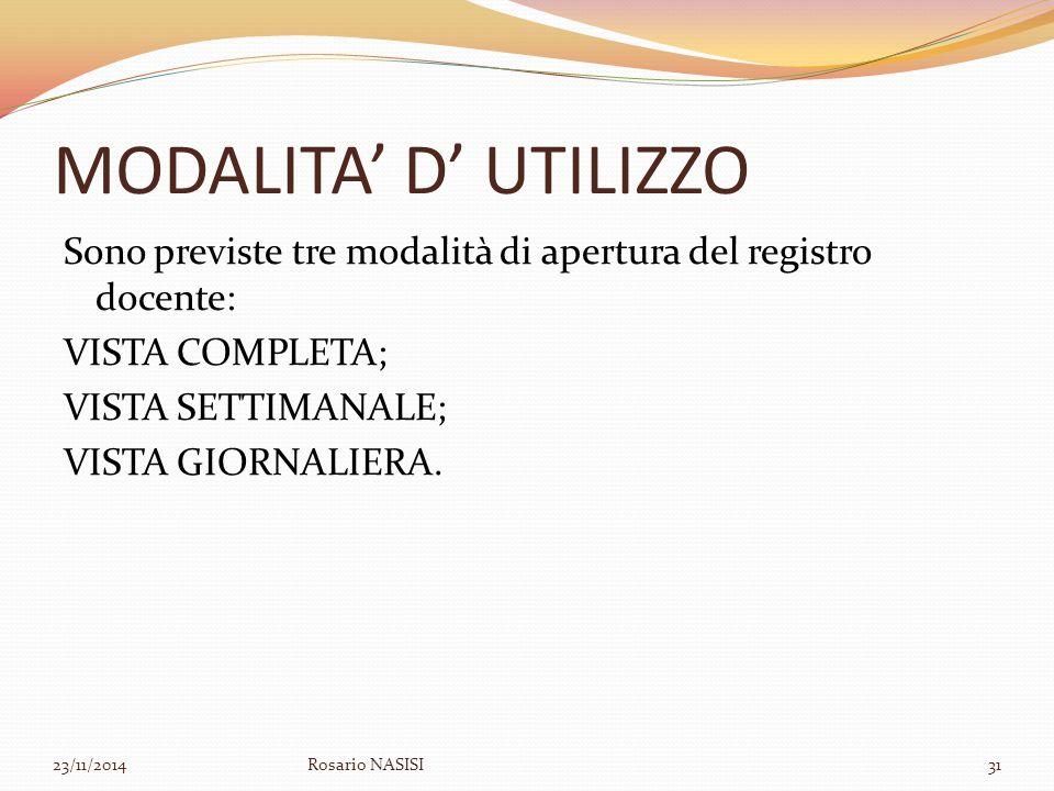 MODALITA' D' UTILIZZO Sono previste tre modalità di apertura del registro docente: VISTA COMPLETA; VISTA SETTIMANALE; VISTA GIORNALIERA. 23/11/2014Ros