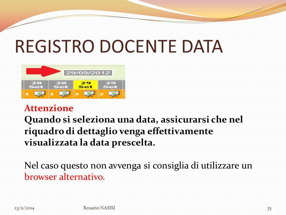 REGISTRO DOCENTE DATA 23/11/2014Rosario NASISI35 Attenzione Quando si seleziona una data, assicurarsi che nel riquadro di dettaglio venga effettivamen