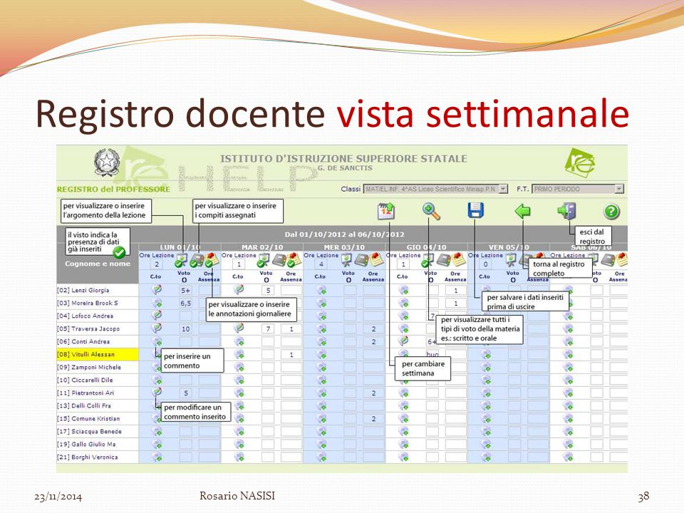Registro docente vista settimanale 23/11/2014Rosario NASISI38