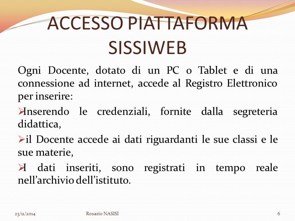 ACCESSO PIATTAFORMA SISSIWEB Ogni Docente, dotato di un PC o Tablet e di una connessione ad internet, accede al Registro Elettronico per inserire:  I