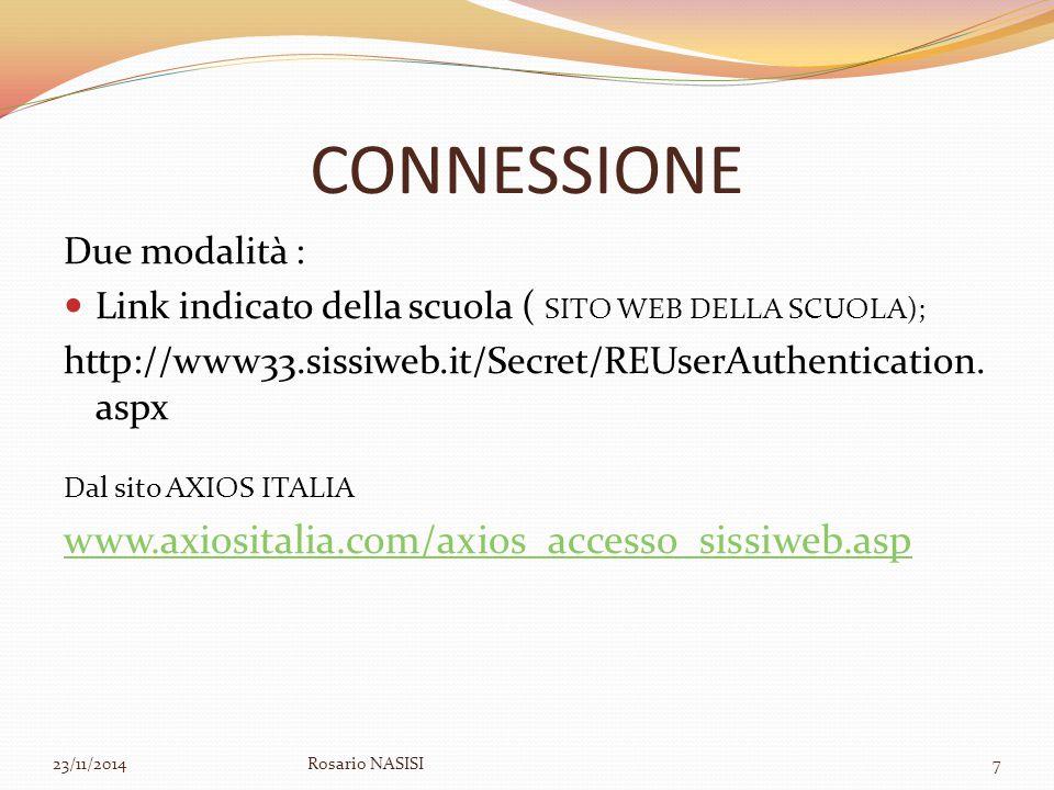 CONNESSIONE Due modalità : Link indicato della scuola ( SITO WEB DELLA SCUOLA); http://www33.sissiweb.it/Secret/REUserAuthentication. aspx Dal sito AX