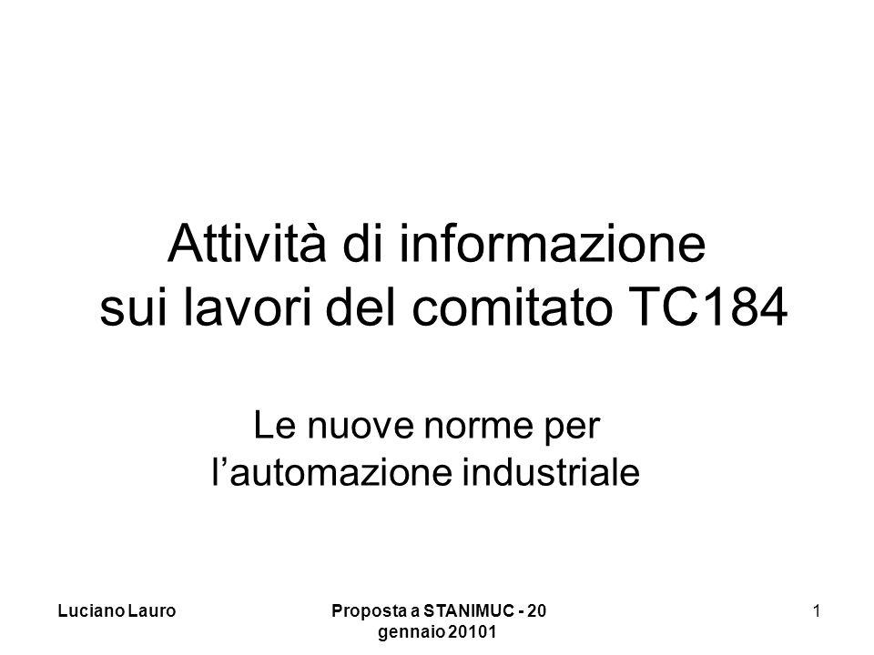 Luciano Lauro Proposta a STANIMUC - 20 gennaio 20102 2 Attuale situazione della programmazione CN e delle macchine di misura Lo standard attuale per il controllo numerico ISO 6983:1982,, in fase di revisione, con ISO 841:2001 per il nome degli assi, risale alla fine degli anni 60 ed era fatto per il nastro perforato.