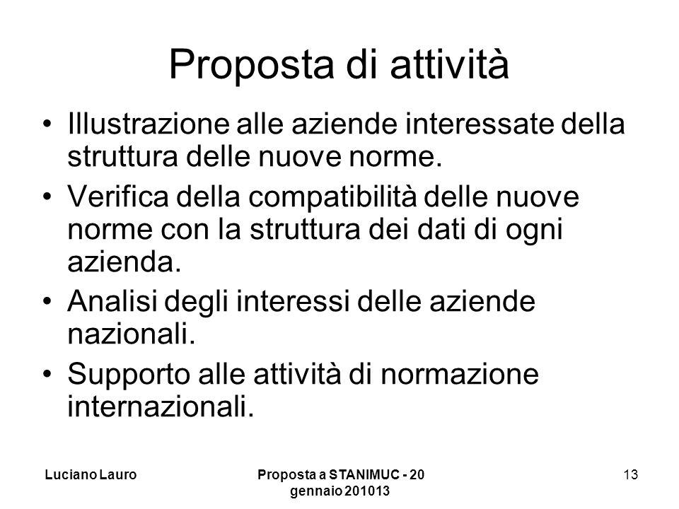 Luciano Lauro Proposta a STANIMUC - 20 gennaio 201013 13 Proposta di attività Illustrazione alle aziende interessate della struttura delle nuove norme.