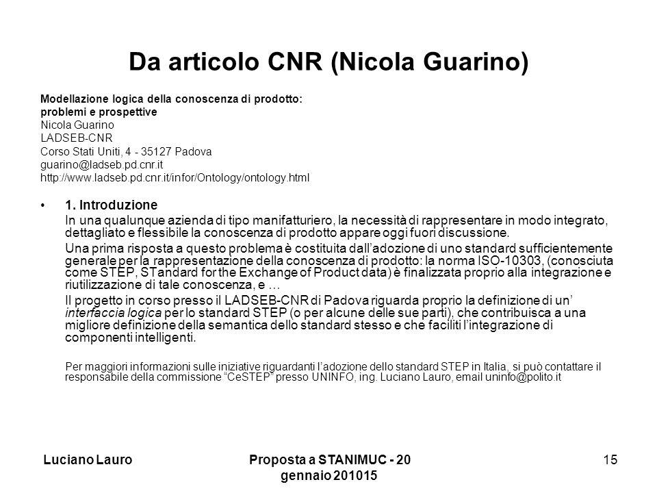 Luciano Lauro Proposta a STANIMUC - 20 gennaio 201015 15 Da articolo CNR (Nicola Guarino) Modellazione logica della conoscenza di prodotto: problemi e prospettive Nicola Guarino LADSEB-CNR Corso Stati Uniti, 4 - 35127 Padova guarino@ladseb.pd.cnr.it http://www.ladseb.pd.cnr.it/infor/Ontology/ontology.html 1.
