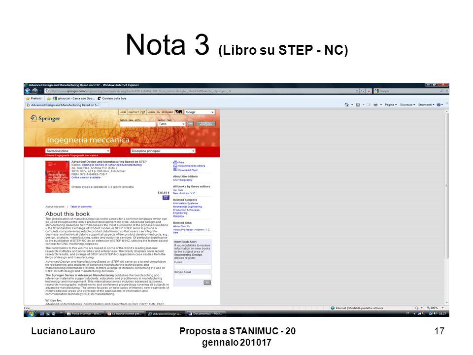 Luciano Lauro Proposta a STANIMUC - 20 gennaio 201017 17 Nota 3 (Libro su STEP - NC)