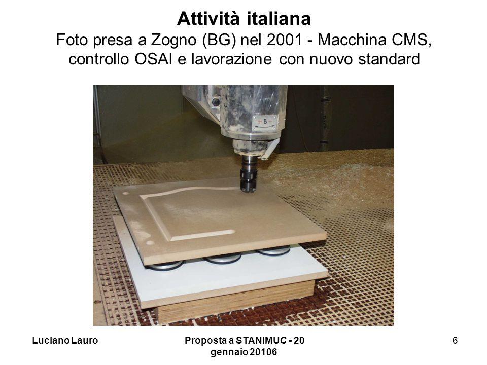 Luciano Lauro Proposta a STANIMUC - 20 gennaio 20106 6 Attività italiana Foto presa a Zogno (BG) nel 2001 - Macchina CMS, controllo OSAI e lavorazione con nuovo standard