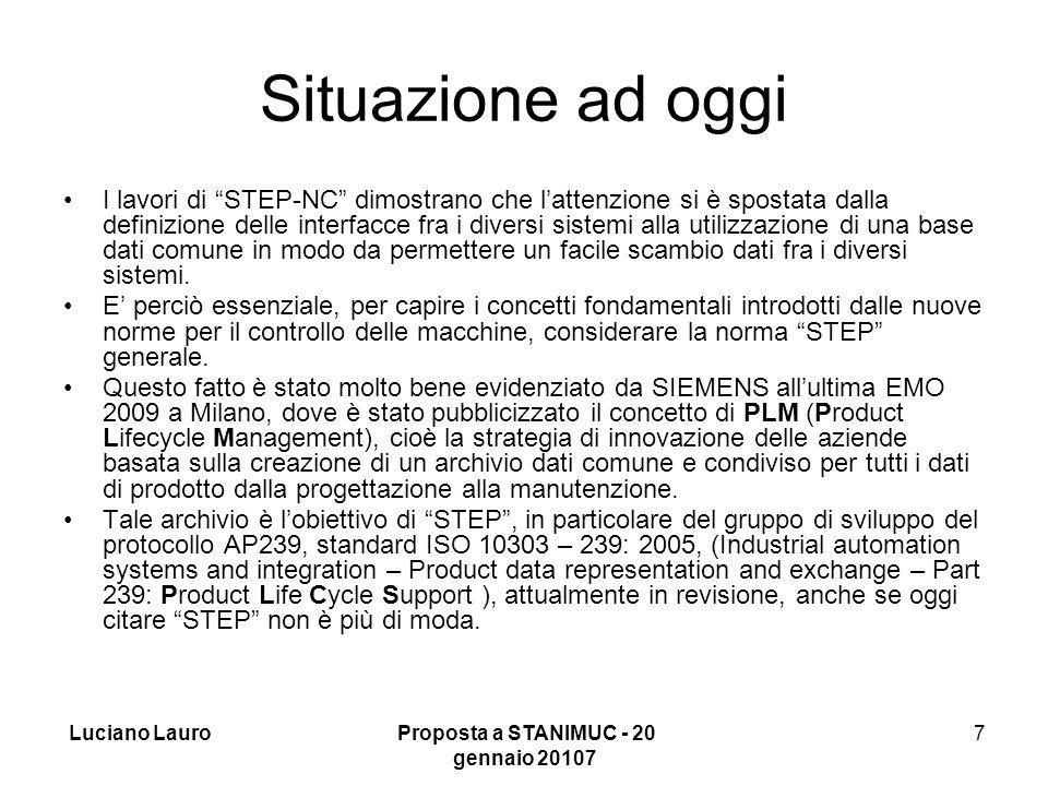 Luciano Lauro Proposta a STANIMUC - 20 gennaio 20107 7 Situazione ad oggi I lavori di STEP-NC dimostrano che l'attenzione si è spostata dalla definizione delle interfacce fra i diversi sistemi alla utilizzazione di una base dati comune in modo da permettere un facile scambio dati fra i diversi sistemi.