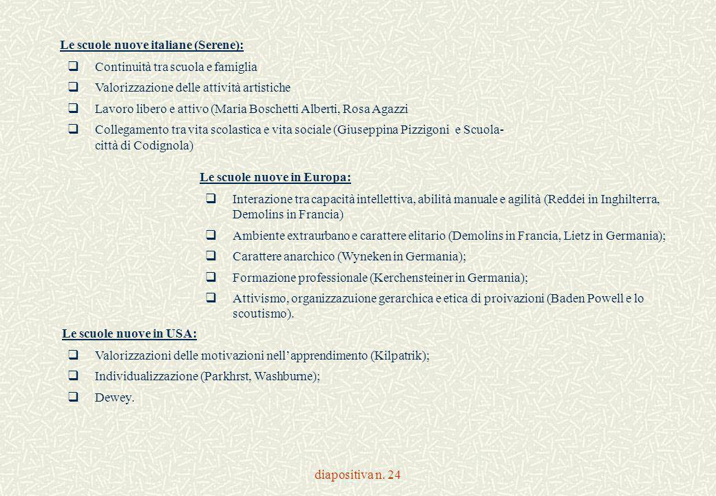 diapositiva n. 24  Continuità tra scuola e famiglia  Valorizzazione delle attività artistiche  Lavoro libero e attivo (Maria Boschetti Alberti, Ros