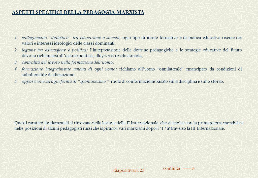 """diapositiva n. 25 1. 1.collegamento """"dialettico"""" tra educazione e società; ogni tipo di ideale formativo e di pratica educativa risente dei valori e i"""