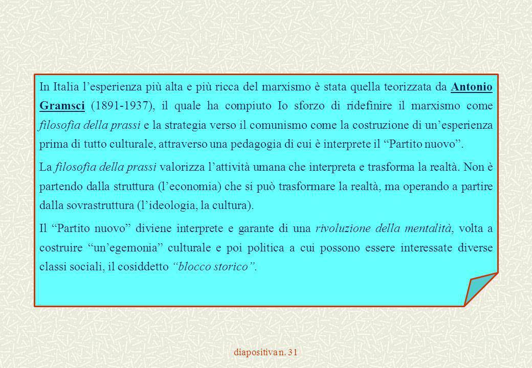 diapositiva n. 31 In Italia l'esperienza più alta e più ricca del marxismo è stata quella teorizzata da Antonio Gramsci (1891-1937), il quale ha compi