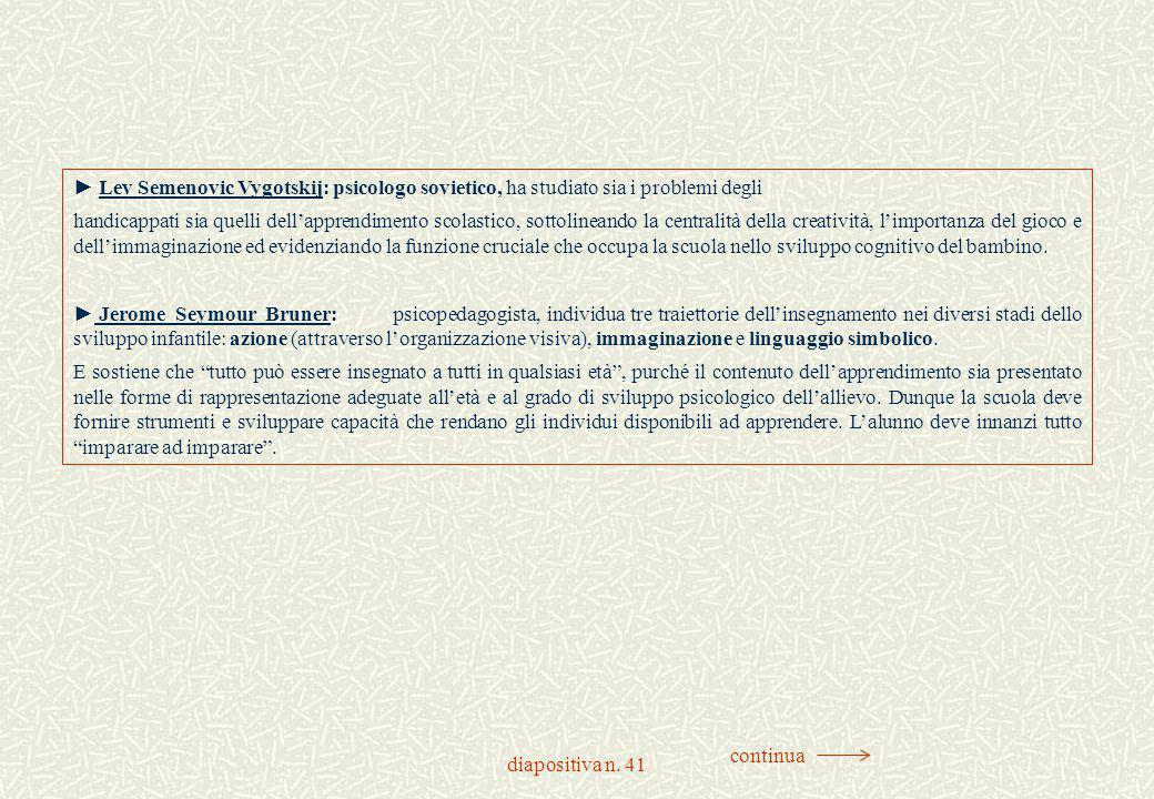 diapositiva n. 41 ► Lev Semenovic Vygotskij: psicologo sovietico, ha studiato sia i problemi degli handicappati sia quelli dell'apprendimento scolasti