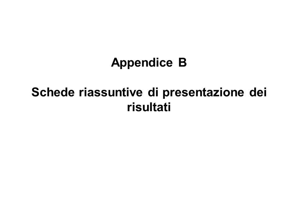 Appendice B Schede riassuntive di presentazione dei risultati