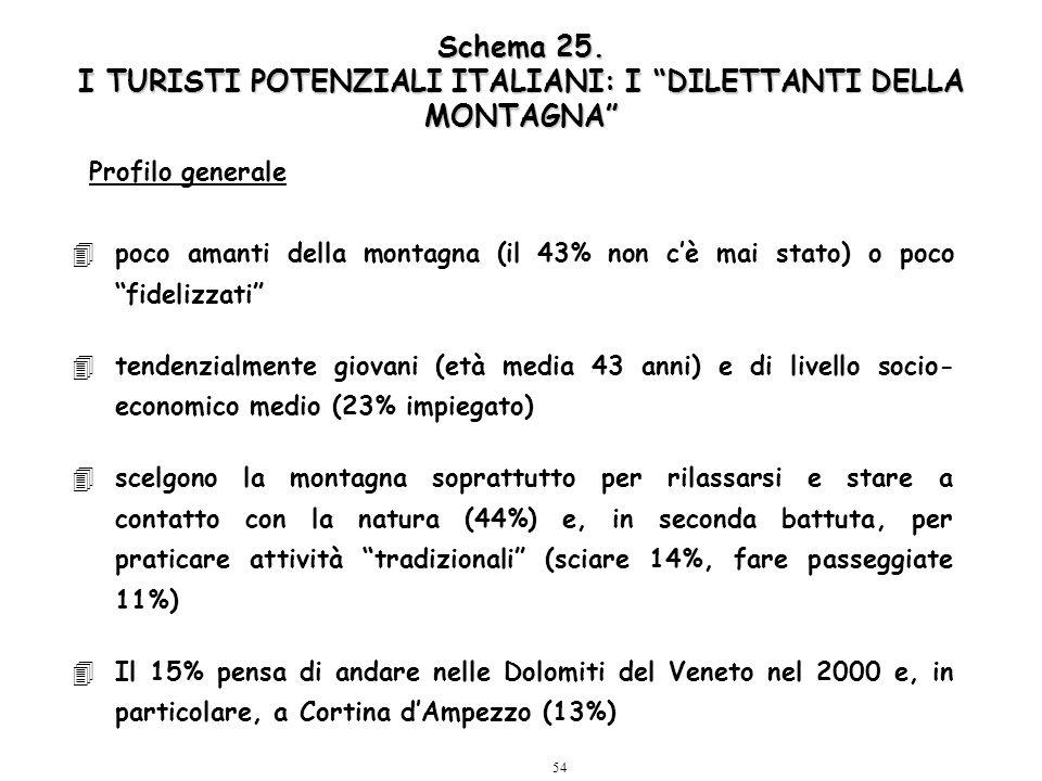 """54 Schema 25. I TURISTI POTENZIALI ITALIANI: I """"DILETTANTI DELLA MONTAGNA"""" 4poco amanti della montagna (il 43% non c'è mai stato) o poco """"fidelizzati"""""""