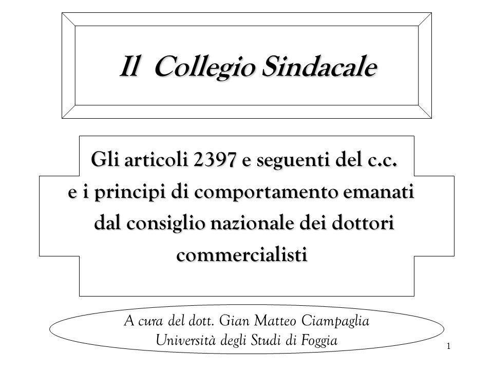 PRINCIPI DI COMPORTAMENTO DEL COLLEGIO SINDACALE NELLE SOCIETÀ QUOTATE 32 L'art.