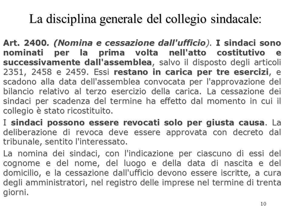 10 La disciplina generale del collegio sindacale La disciplina generale del collegio sindacale: Art. 2400. (Nomina e cessazione dall'ufficio). I sinda
