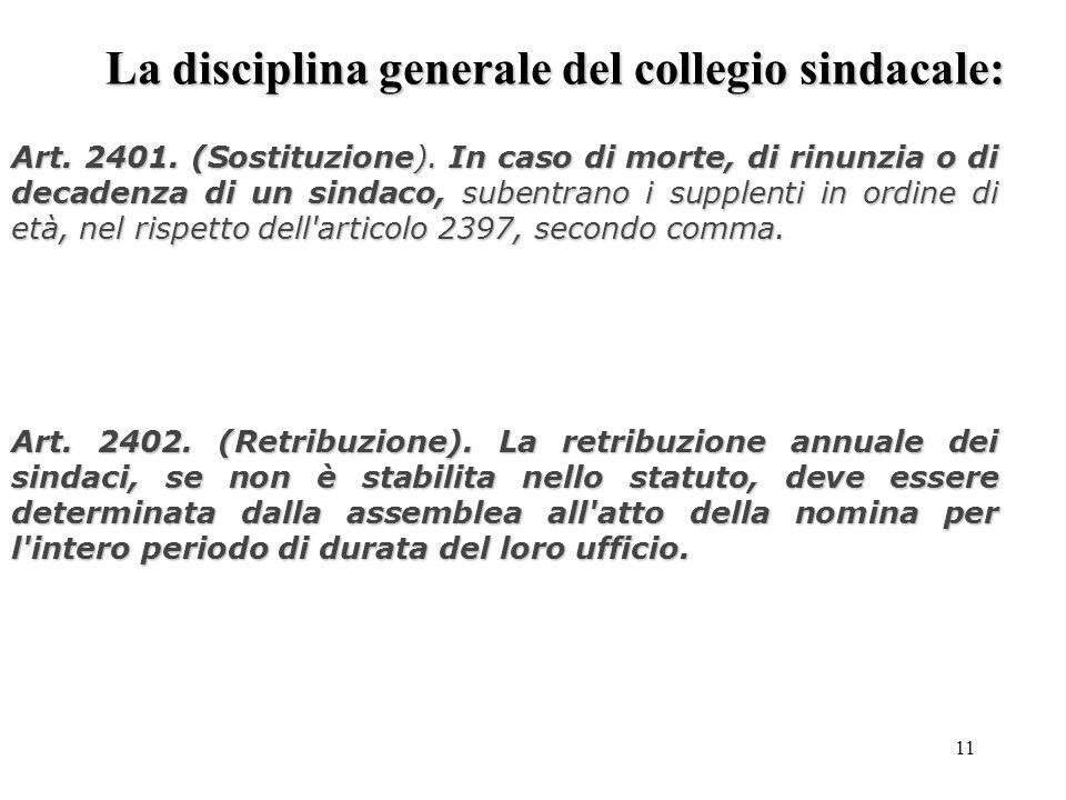 11 La disciplina generale del collegio sindacale: Art. 2401. (Sostituzione). In caso di morte, di rinunzia o di decadenza di un sindaco, subentrano i