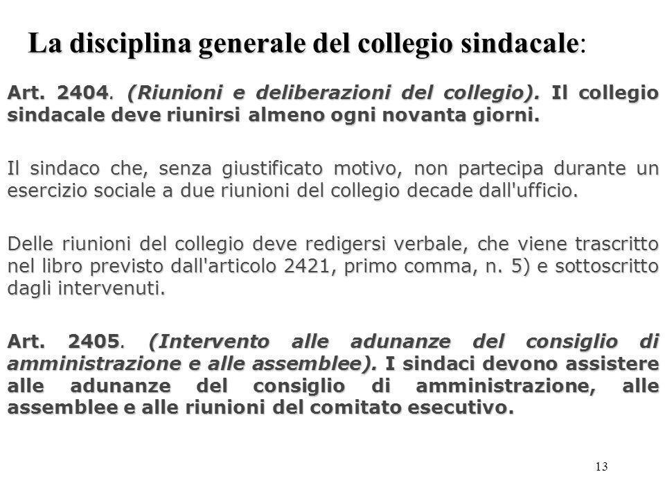 13 La disciplina generale del collegio sindacale La disciplina generale del collegio sindacale: Art. 2404. (Riunioni e deliberazioni del collegio). Il