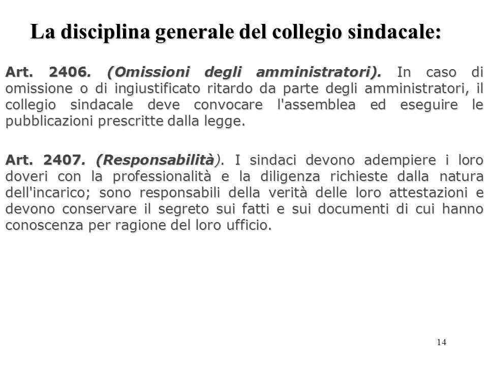 14 La disciplina generale del collegio sindacale: Art. 2406. (Omissioni degli amministratori). In caso di omissione o di ingiustificato ritardo da par