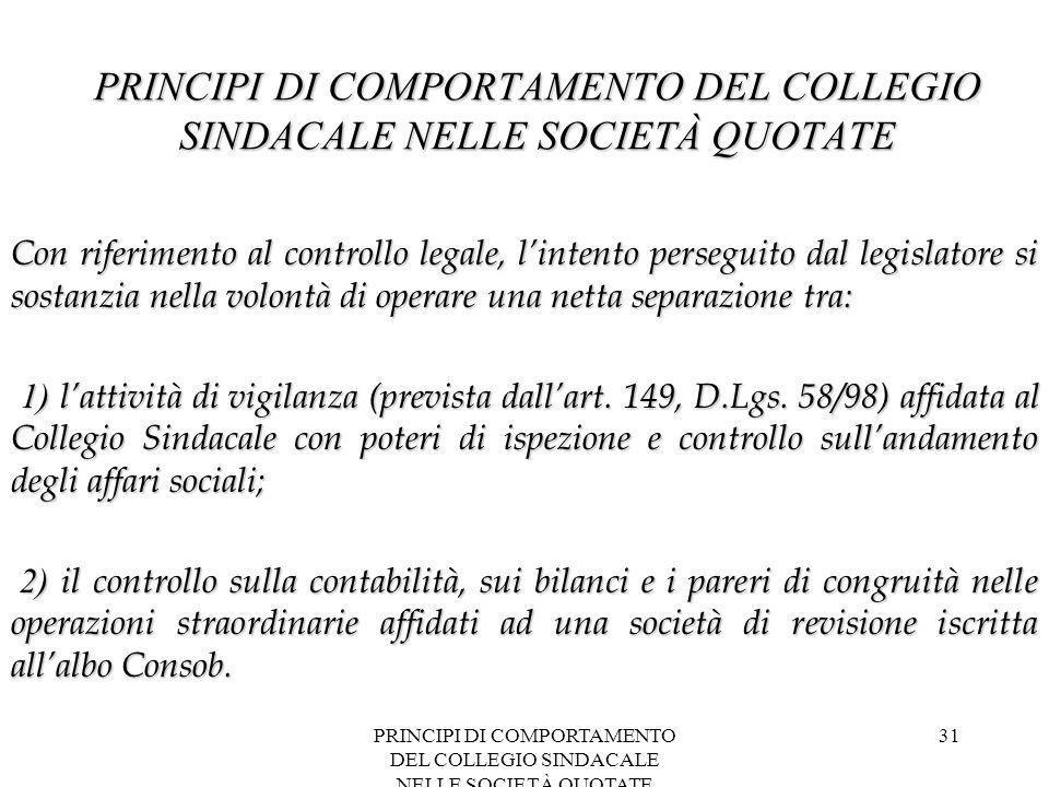 PRINCIPI DI COMPORTAMENTO DEL COLLEGIO SINDACALE NELLE SOCIETÀ QUOTATE 31 PRINCIPI DI COMPORTAMENTO DEL COLLEGIO SINDACALE NELLE SOCIETÀ QUOTATE Con r