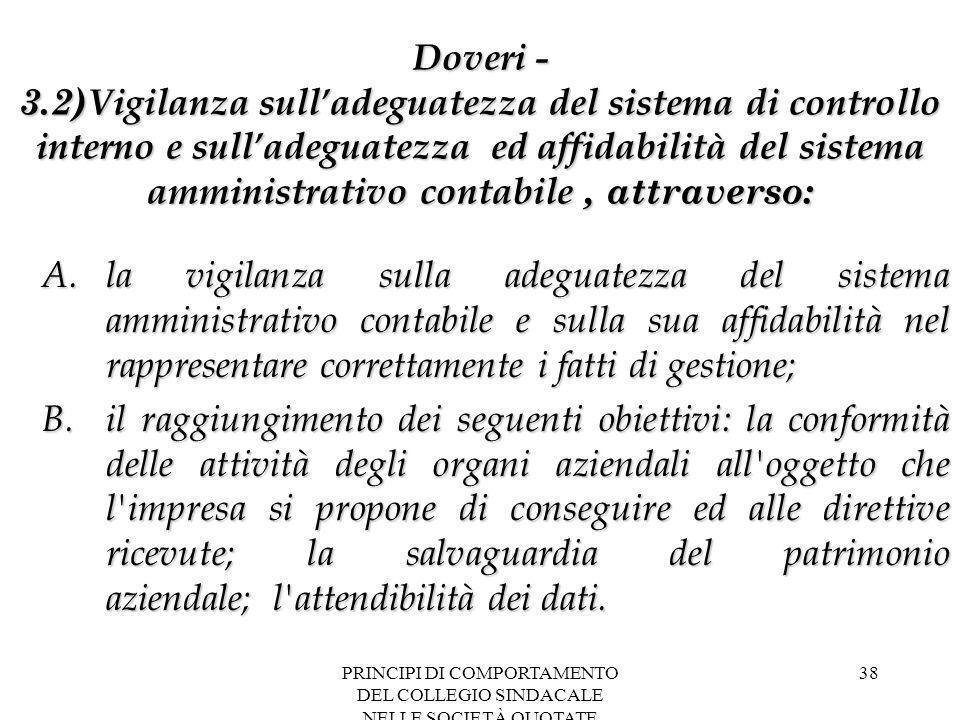 PRINCIPI DI COMPORTAMENTO DEL COLLEGIO SINDACALE NELLE SOCIETÀ QUOTATE 38 Doveri - 3.2) Vigilanza sull'adeguatezza del sistema di controllo interno e
