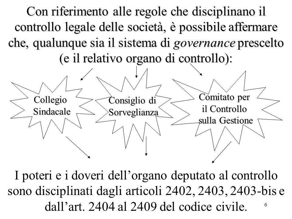 6 Con riferimento alle regole che disciplinano il controllo legale delle società, è possibile affermare che, qualunque sia il sistema di governance pr