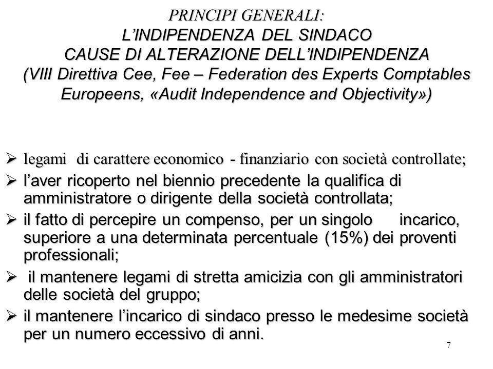 7 PRINCIPI GENERALI: L'INDIPENDENZA DEL SINDACO CAUSE DI ALTERAZIONE DELL'INDIPENDENZA (VIII Direttiva Cee, Fee – Federation des Experts Comptables Eu