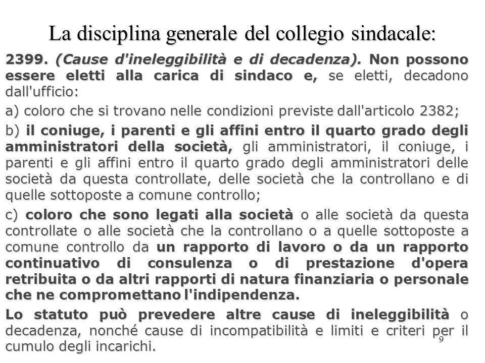 10 La disciplina generale del collegio sindacale La disciplina generale del collegio sindacale: Art.