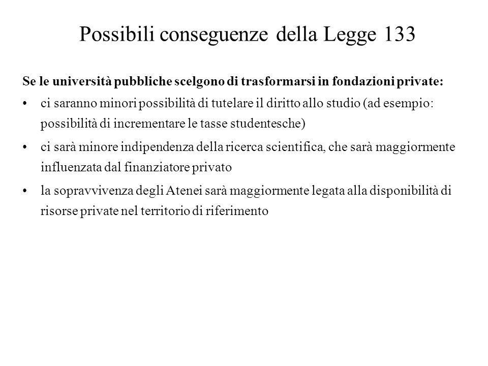 Possibili conseguenze della Legge 133 Se le università pubbliche scelgono di trasformarsi in fondazioni private: ci saranno minori possibilità di tute