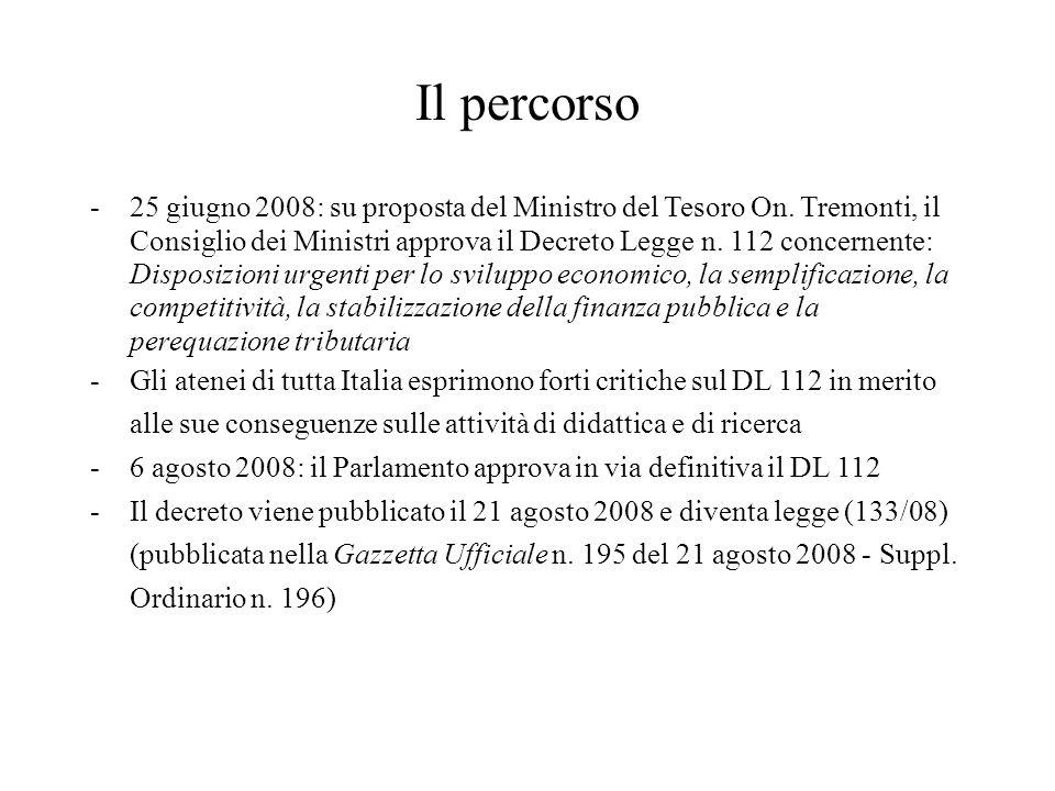 Il percorso -25 giugno 2008: su proposta del Ministro del Tesoro On. Tremonti, il Consiglio dei Ministri approva il Decreto Legge n. 112 concernente: