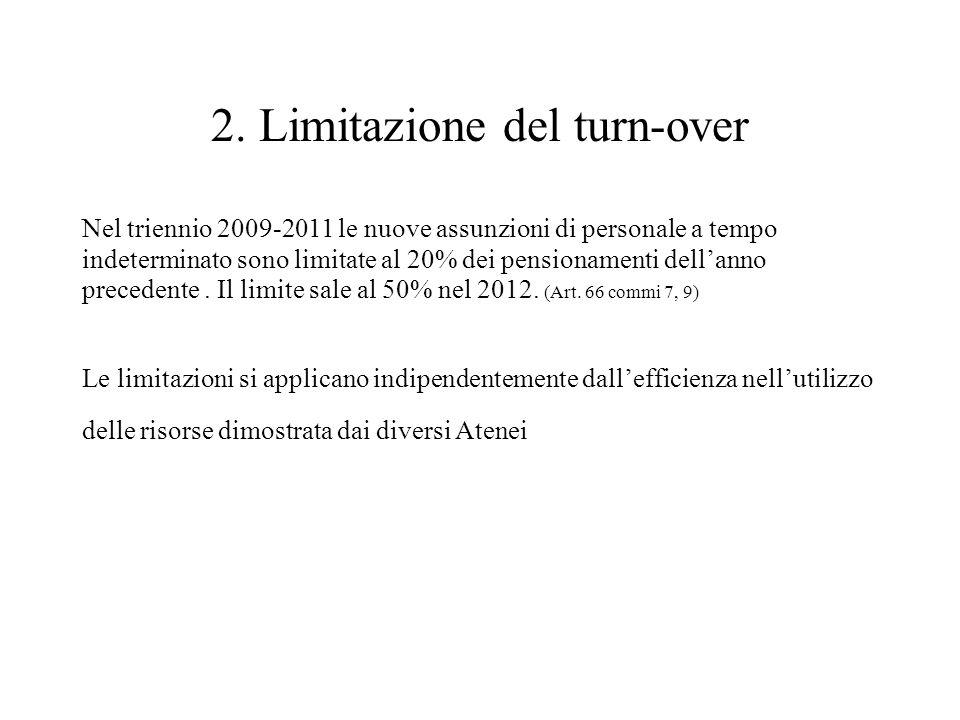 2. Limitazione del turn-over Nel triennio 2009-2011 le nuove assunzioni di personale a tempo indeterminato sono limitate al 20% dei pensionamenti dell