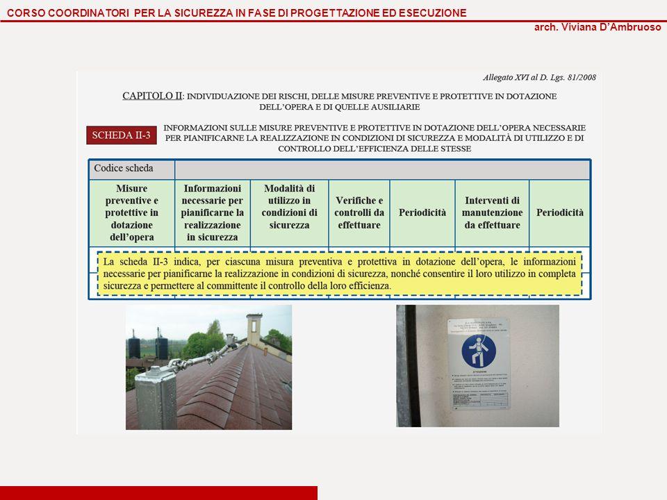 CORSO COORDINATORI PER LA SICUREZZA IN FASE DI PROGETTAZIONE ED ESECUZIONE arch. Viviana D'Ambruoso
