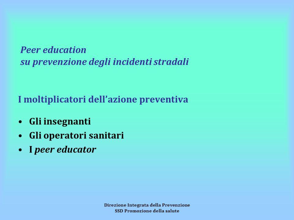 Direzione Integrata della Prevenzione SSD Promozione della salute Peer education su prevenzione degli incidenti stradali I moltiplicatori dell'azione