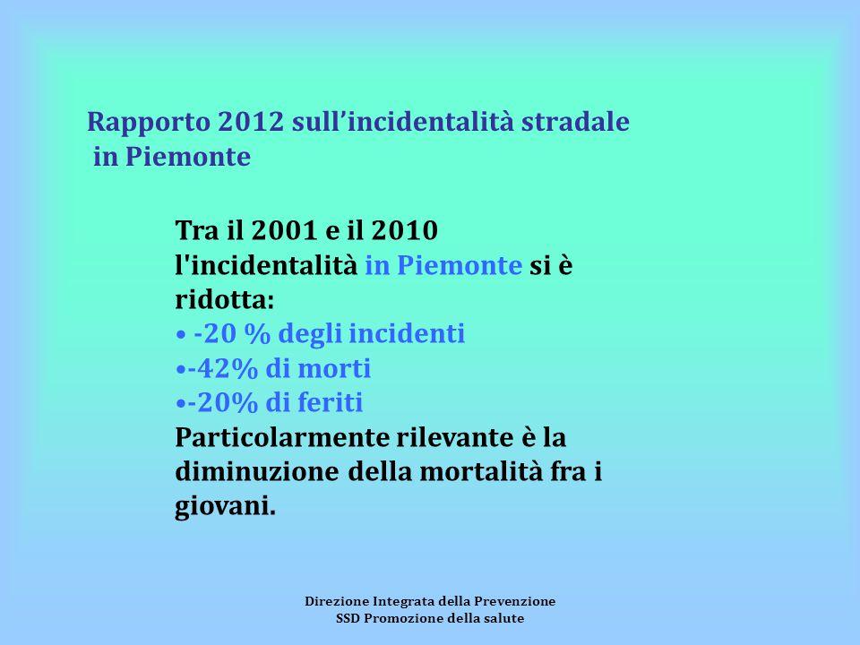 Direzione Integrata della Prevenzione SSD Promozione della salute Rapporto 2012 sull'incidentalità stradale in Piemonte Tra il 2001 e il 2010 l'incide