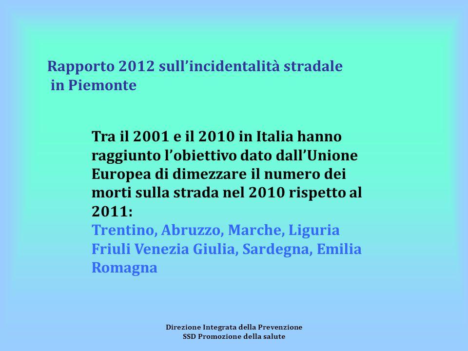 Direzione Integrata della Prevenzione SSD Promozione della salute Rapporto 2012 sull'incidentalità stradale in Piemonte Tra il 2001 e il 2010 in Itali