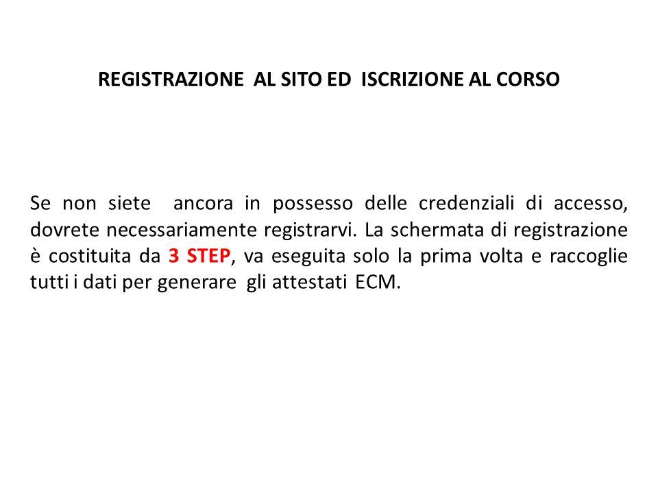 REGISTRAZIONE AL SITO ED ISCRIZIONE AL CORSO Se non siete ancora in possesso delle credenziali di accesso, dovrete necessariamente registrarvi. La sch