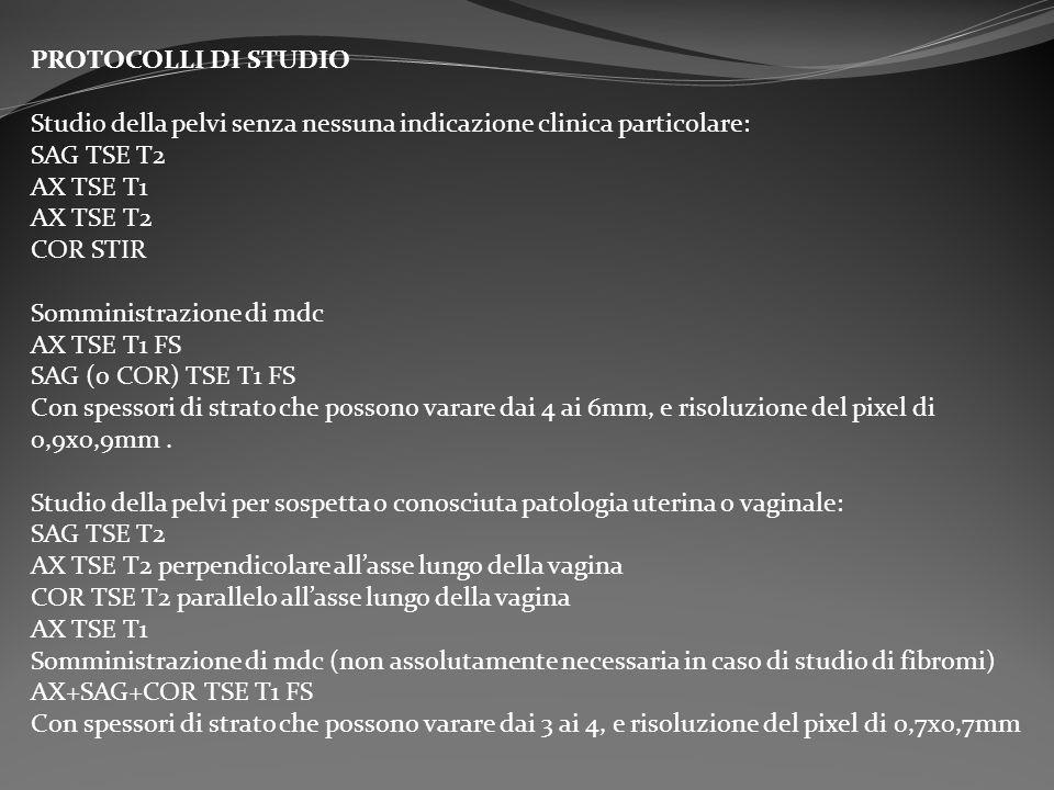 PROTOCOLLI DI STUDIO Studio della pelvi senza nessuna indicazione clinica particolare: SAG TSE T2 AX TSE T1 AX TSE T2 COR STIR Somministrazione di mdc