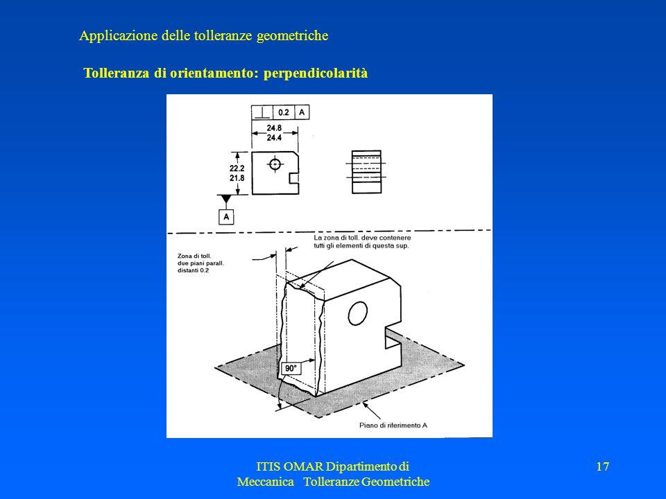 ITIS OMAR Dipartimento di Meccanica Tolleranze Geometriche 17 Applicazione delle tolleranze geometriche Tolleranza di orientamento: perpendicolarità
