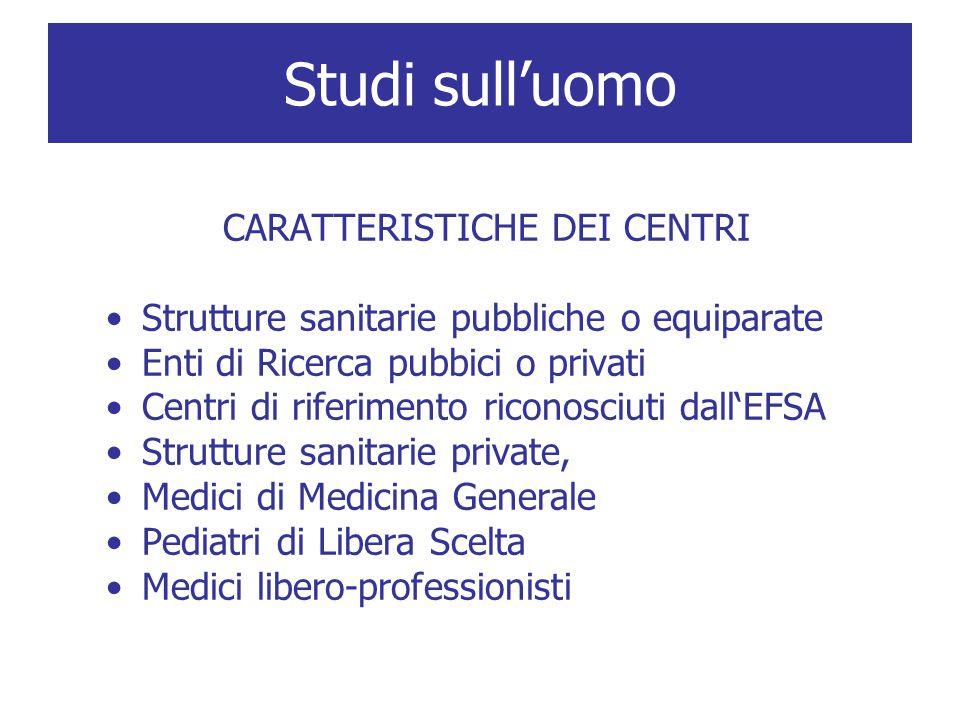 CARATTERISTICHE DEI CENTRI Strutture sanitarie pubbliche o equiparate Enti di Ricerca pubbici o privati Centri di riferimento riconosciuti dall'EFSA S