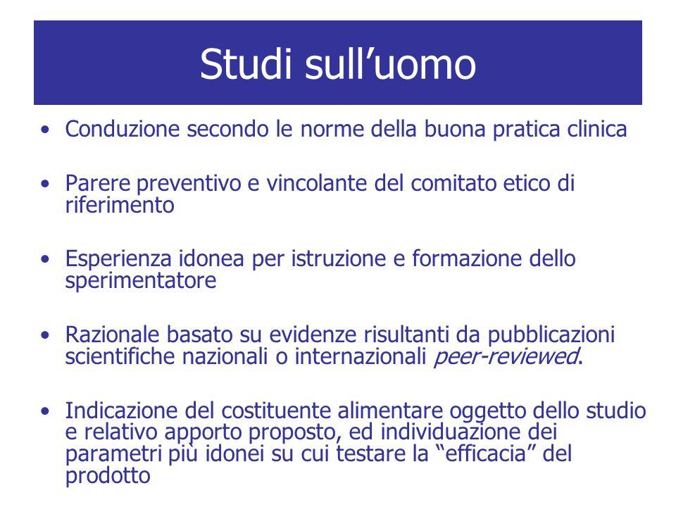 Studi sull'uomo Conduzione secondo le norme della buona pratica clinica Parere preventivo e vincolante del comitato etico di riferimento Esperienza id